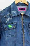 80s Arcade Games upcycled denim jacket tetris jacket geekery jeans jacket denim jacket