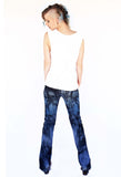 Blue N' Black tie dye upcycled Bell Bottoms jeans