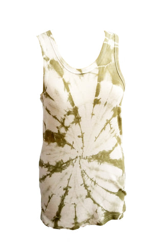 Break It Down tie dye racer back tank - In Olive