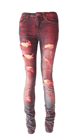 Acid Angel blood red ripped acid wash upcycled denim Skinny  jeans
