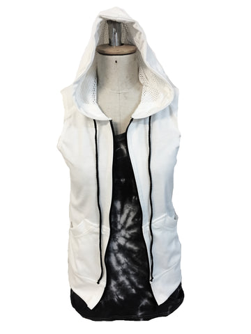 Just The Right 'Tude sleeveless zipper Hoodie in White