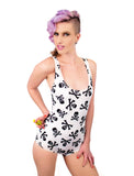 The Good Old Days One Piece Racer Back Skull Print BodySuit | Swimsuit