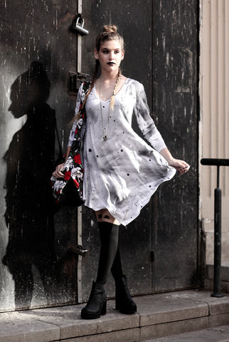 The Ink Blotch long sleeve trapeze dress