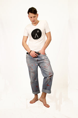 Zombie attack jeans blood splatter street style punk jeans upcycled denim boyfriend jeans