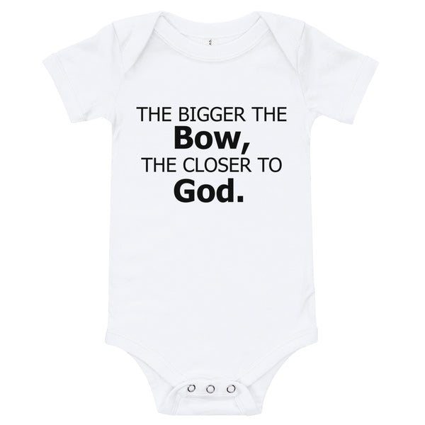 Bigger Bow Onesie (black text)