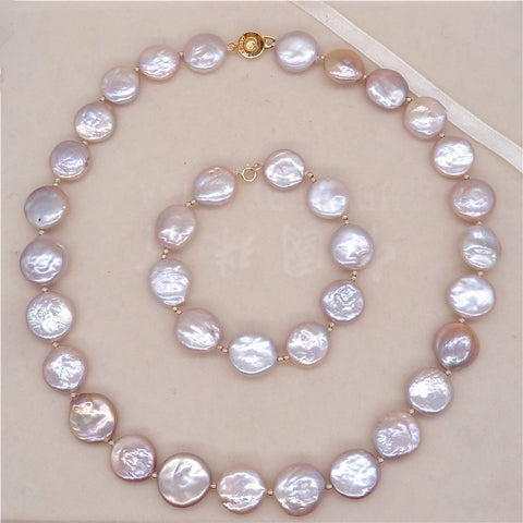 wedding Women Gift  Natural freshwater Baroque Coin pearl necklace