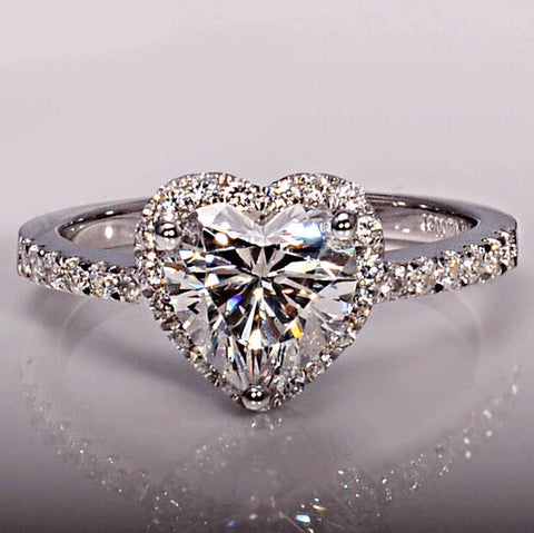 Brand Jewelry Heart cut 1ct Cz 5A Zircon stone 925