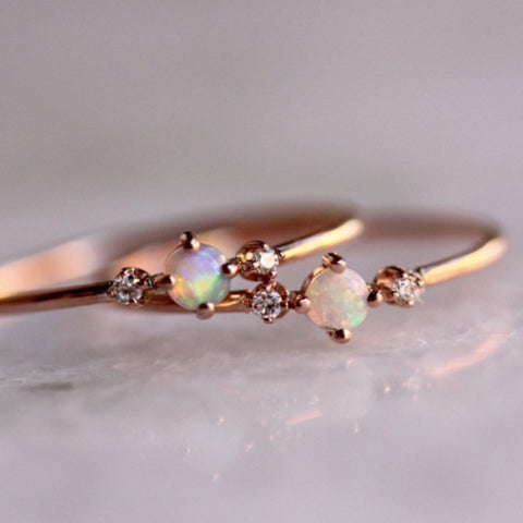 Alloy Natural Opal Rings with Big Stones Engagement Rings for Women
