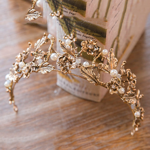 Vintage Baroque Gold Pearl Leaf Bridal Tiara Crystal Crown Hairband Headpiece