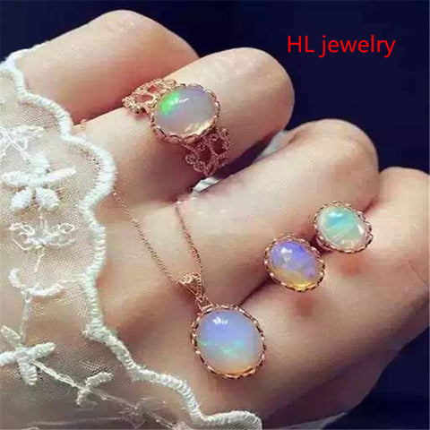 Women Natural Opal Necklace Jewelry sets
