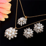 Crystal Rhinestone Classic Hollow necklace pendant earrings jewelry sets