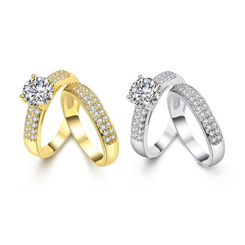 Top Quality Gold Color Rings For Women Engagement Wedding Silver