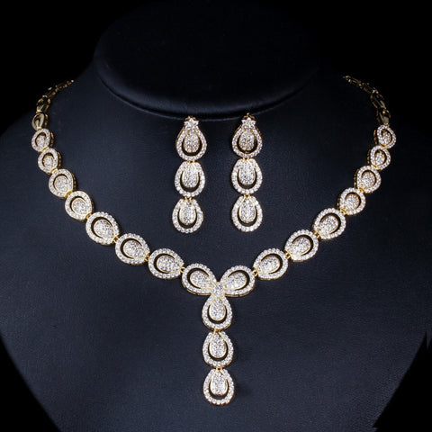 Nigeria Gold Color 2 pcs Cubic Zirconia Drop Earrings Necklace Jewelry