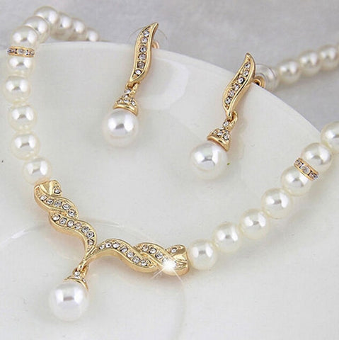 Fashion Rhinestone Earrings Wedding Bridal Pearl Crystal