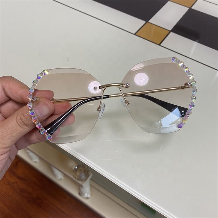Oversized Rimless Sunglasses - For Women