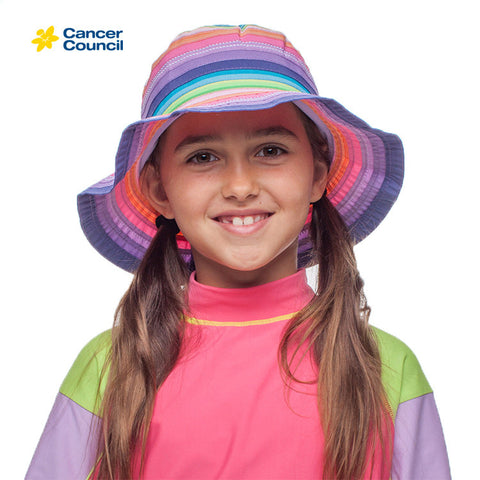 CANCER COUNCIL Chloe Multi Coloured Girls Bucket Hat (B11)