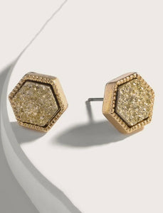 Gold Hex Studs