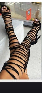 Knee High Lace Up Heels
