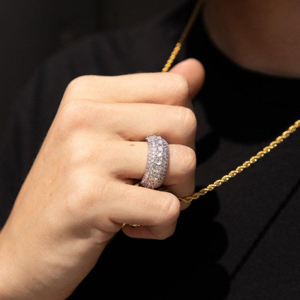 Flooded Iced Rapper Ring in Silver - HYPE HOUSE CHAINS