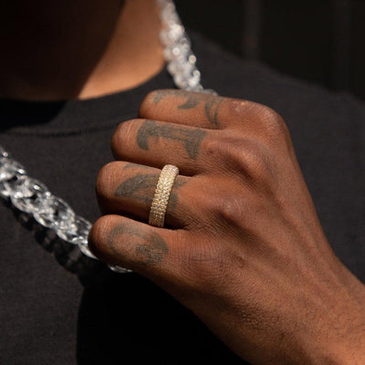 Fully Iced Rapper Ring in Gold - HYPE HOUSE CHAINS