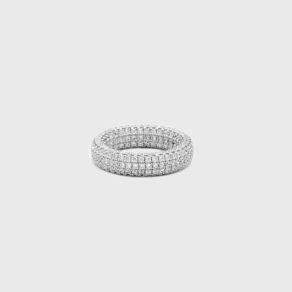 Fully Iced Rapper Ring in Silver - HYPE HOUSE CHAINS
