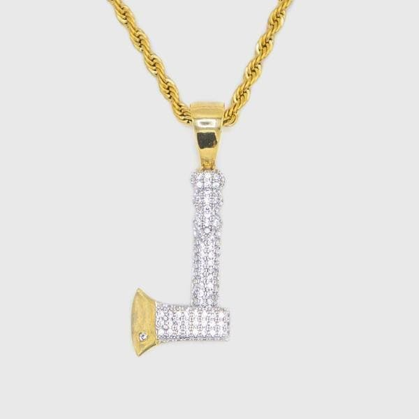 Gold Iced Out Hatchet Pendant - HYPE HOUSE CHAINS