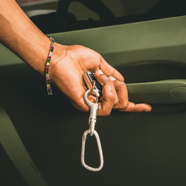 Iced Carabiner Key Chain in Silver - HYPE HOUSE CHAINS