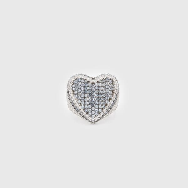 Iced Heart Ring In Blue - HYPE HOUSE CHAINS
