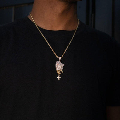 Iced Praying Hands Pendant - HYPE HOUSE CHAINS