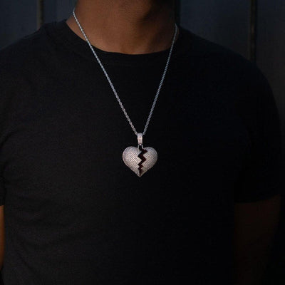Iced Silver Heartbreak Rapper Pendant - HYPE HOUSE CHAINS