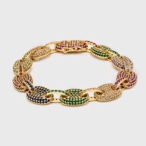 Multi Color Gucci Link Bracelet In Gold - HYPE HOUSE CHAINS