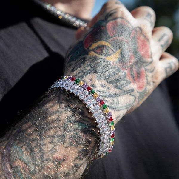 Multicolor Tennis Bracelet in Silver - HYPE HOUSE CHAINS