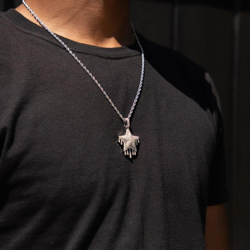 Silver Drip Rapper Star Pendant - HYPE HOUSE CHAINS