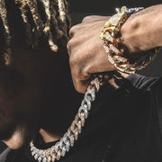 Three Tone Iced Out Cuban Bracelet - HYPE HOUSE CHAINS