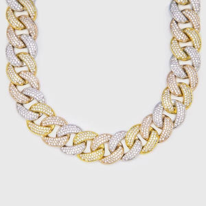 Three Tone Rapper Cuban Choker Chain - HYPE HOUSE CHAINS