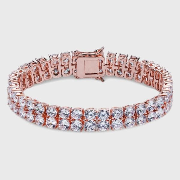 Two Row Rose Gold Diamond Bracelet - HYPE HOUSE CHAINS