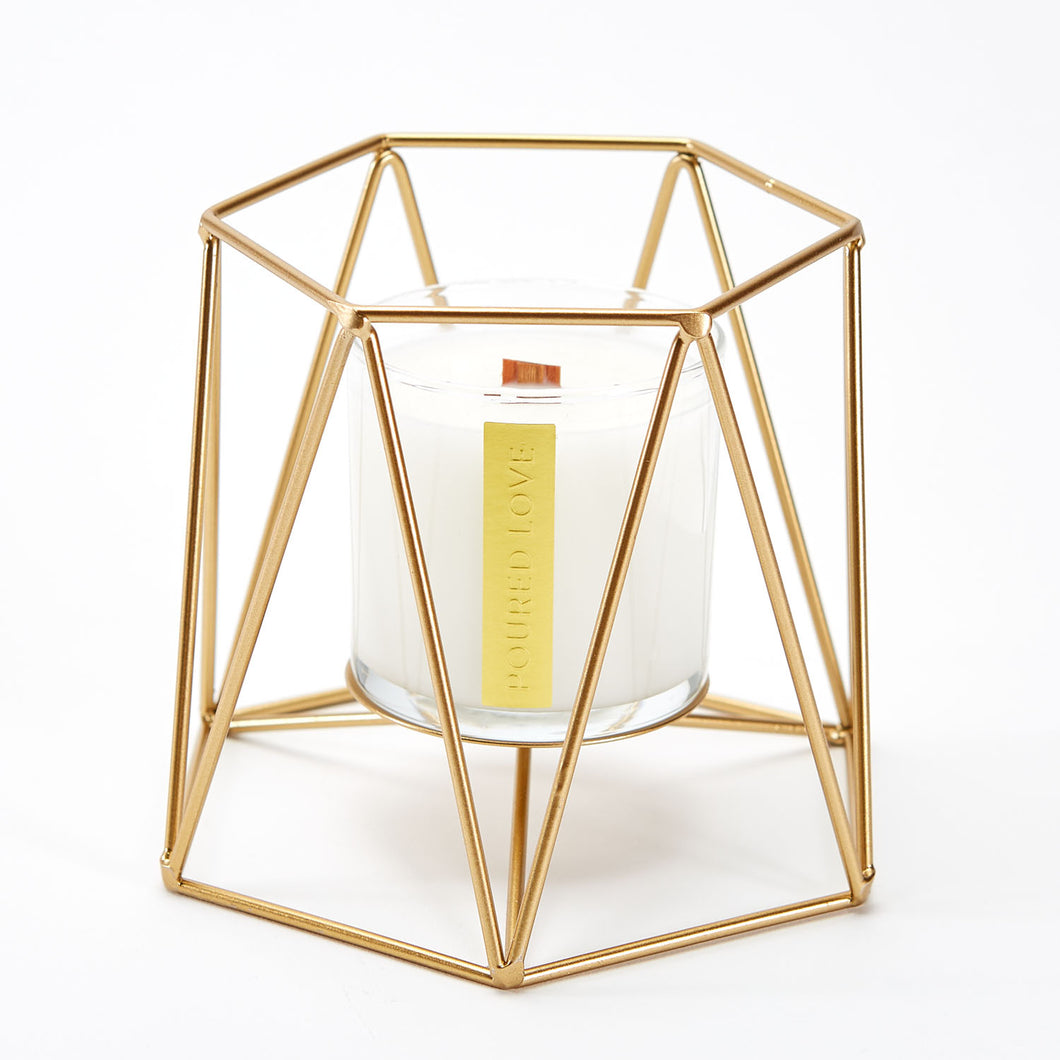 GEOMETRIC CANDLE HOLDER FOR SCENTED CANDLES. BY POURED LOVE WOODEN WICK CANDLES