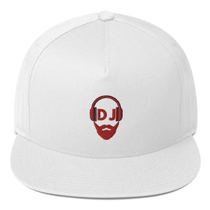 Bearded DJ rot Flat Bill-Cap