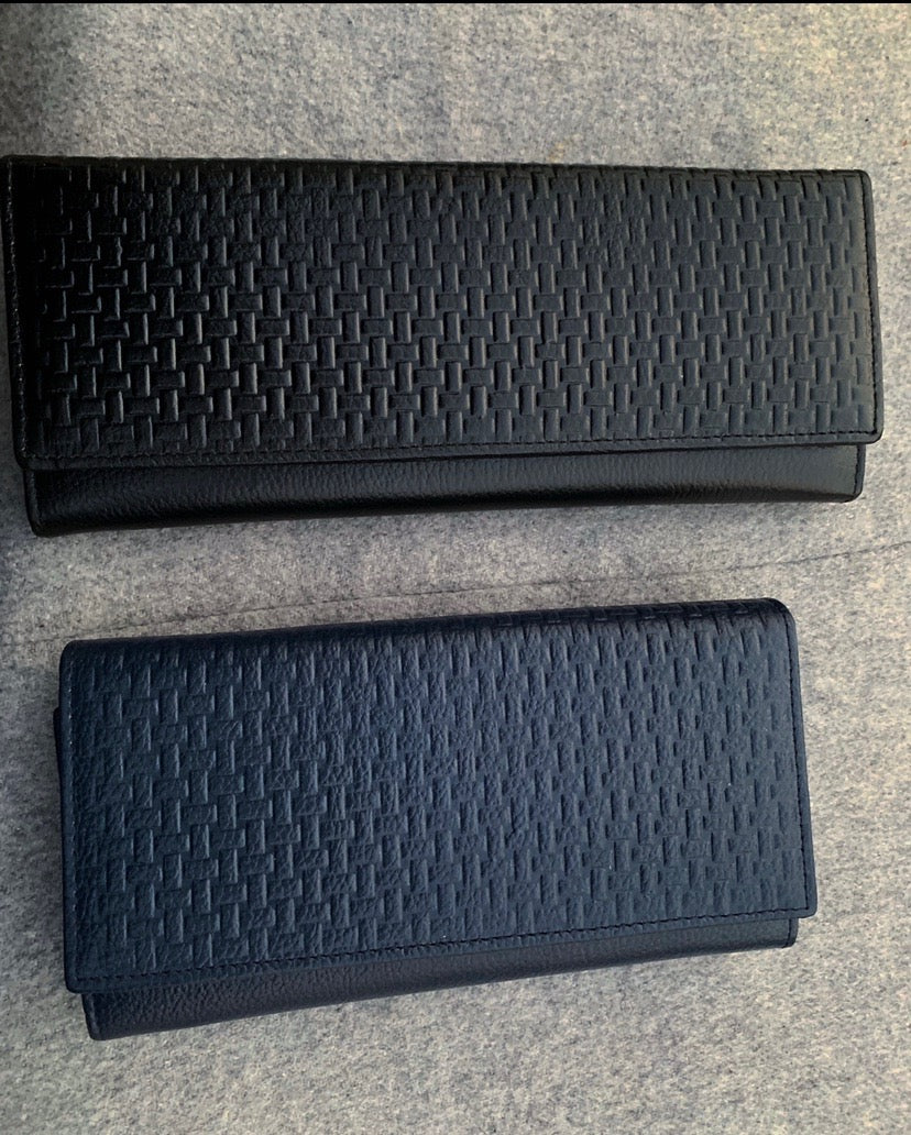 Textured Leather Wallets - Black and Blue Leather Wallets