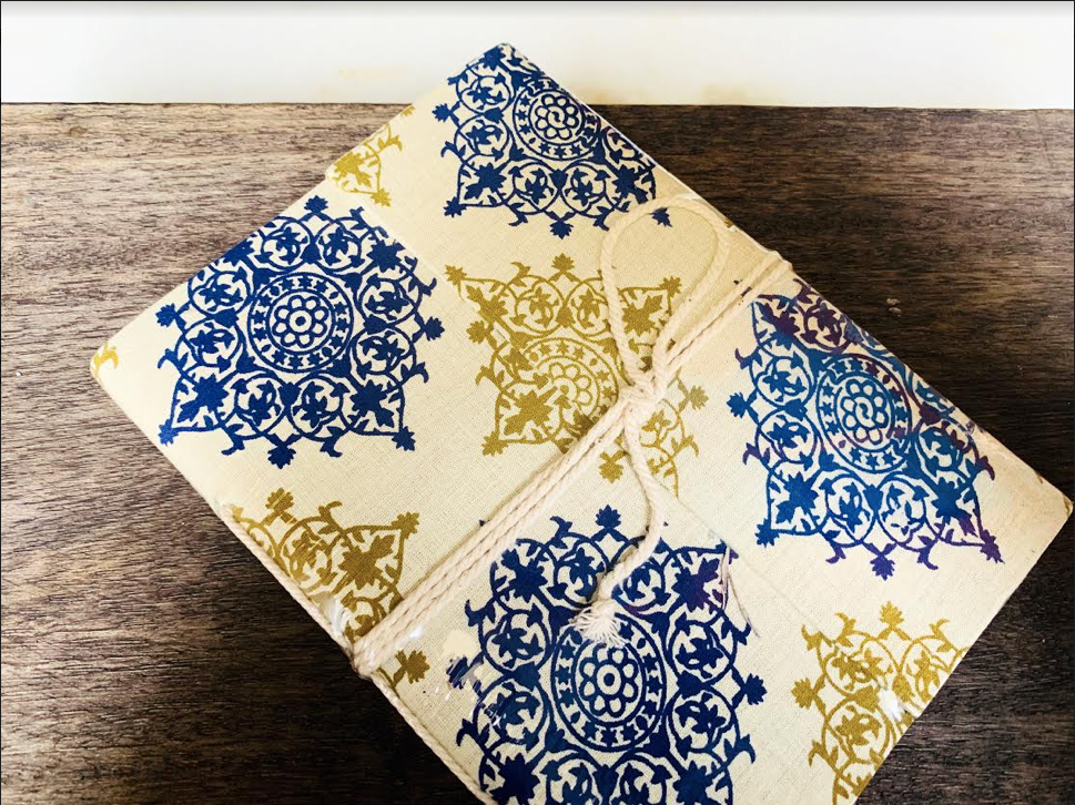 Ethnic Blue and Golden Print Handmade Diary