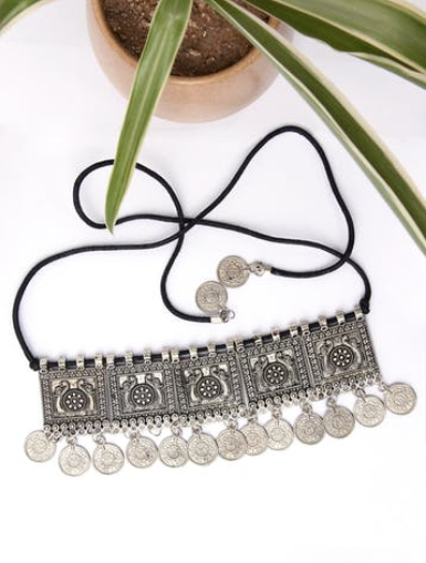 Coin Drop Peacock Engraved Ethnic Choker