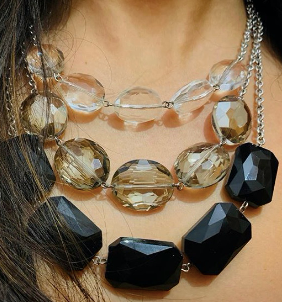 Three Stone Necklace - Clear, Emerald and Black
