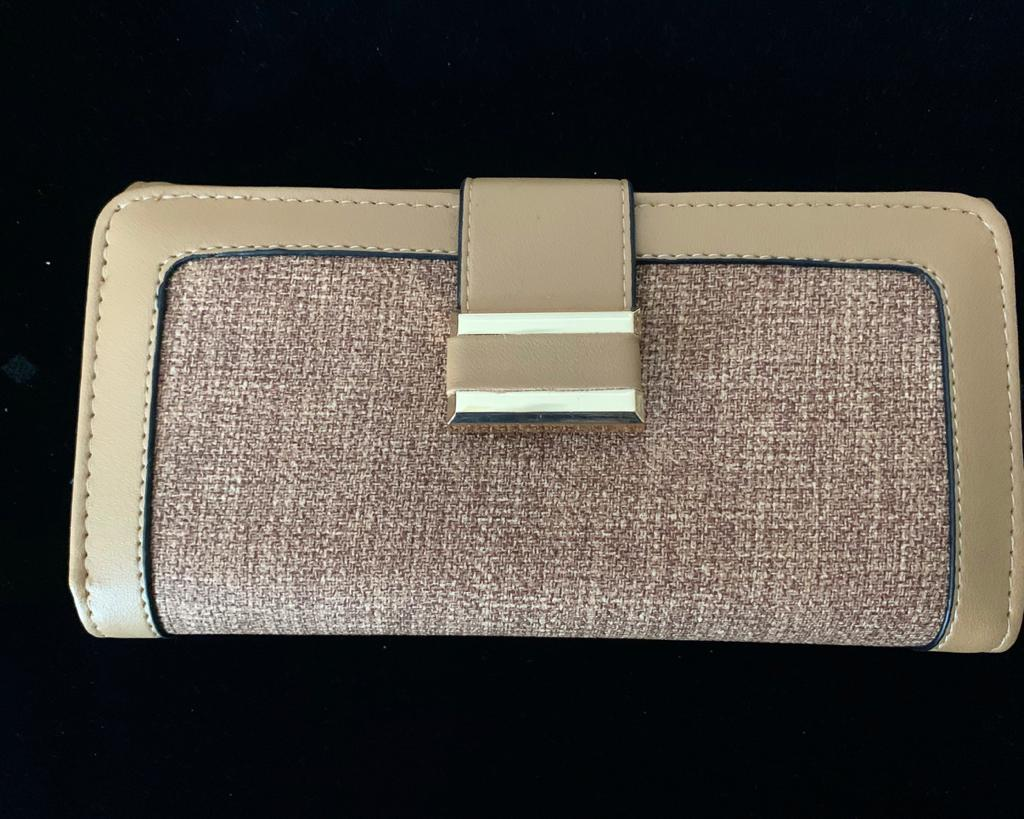 Wallet - Beige base with a clip in Gold Buckle, Triple Folding