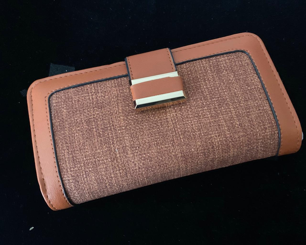 Wallet - Brown base with a clip in Gold Buckle, Triple Folding