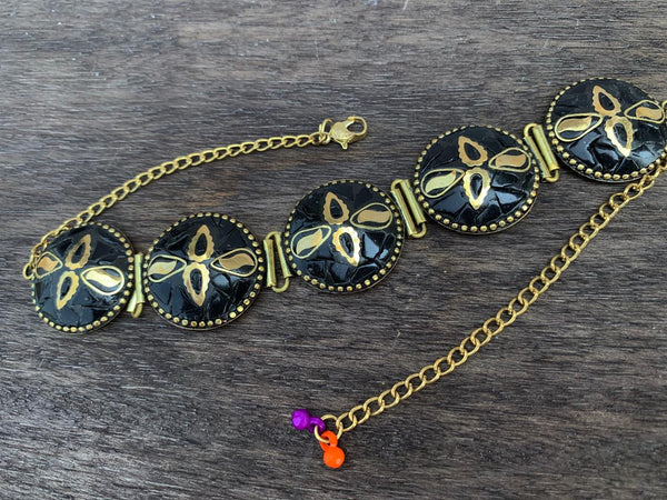 Black Stone Work with Gold Plated Flower Choker