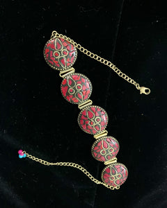 Gold/Copper Base with Pink Stones Choker