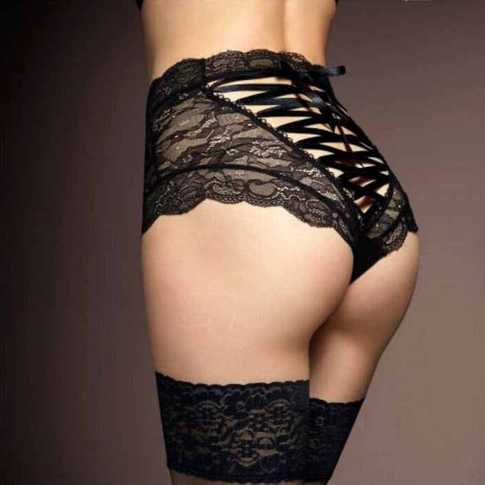Briefs For Women Fashion High Waist Black Lace Underwear Sexy Cross Lacing Underpants Lady String Thong Panties