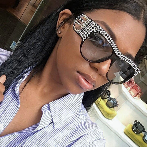 Luxury Square Sunglasses Women Oversized Rhinestone Frame Bling Diamond Glasses