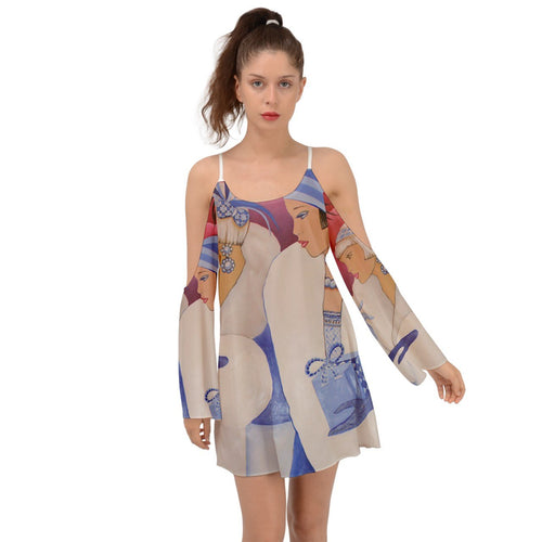 Palm Beach Blue Kimono Sleeves Womens Dress