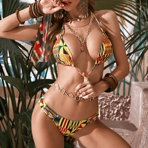 Patchwork Print Halter Triangle Bikini Swimsuit